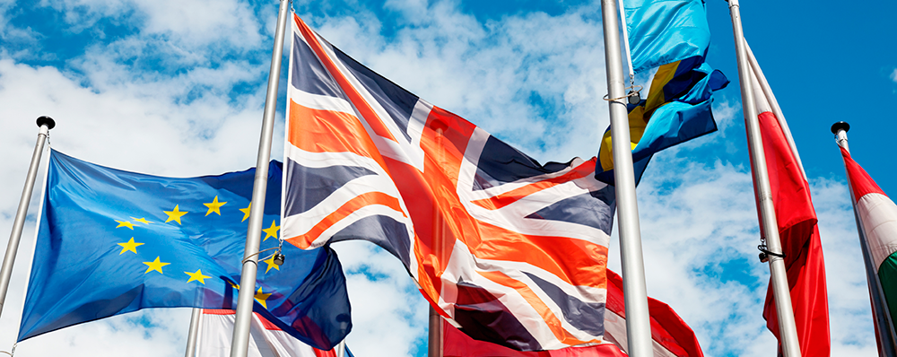Union Jack and European Union flag waving in the wind, amongst other