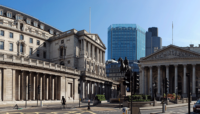 Picture showing the Bank of England and surrounding buildings.