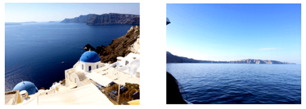 Pictures of Santorini town and ocean
