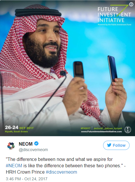 Tweet from the official Neom twitter account