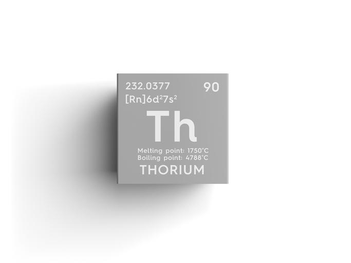 Thorium. Actinoids. Chemical Element of Mendeleev's Periodic Table. Thorium in square cube creative concept.