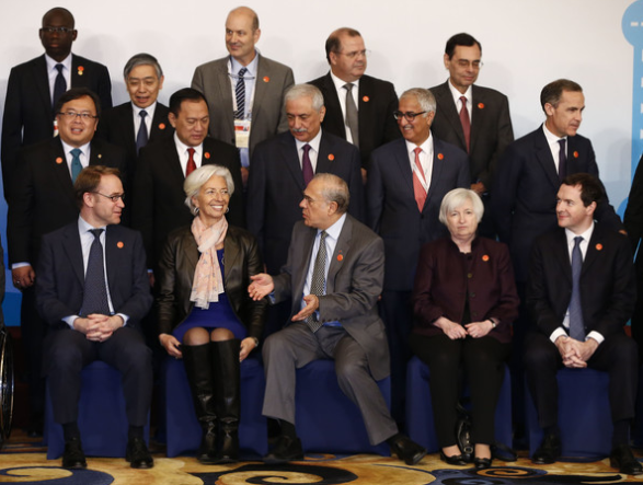Lagarde (left) and Yellen (right) at a meeting of G20 finance ministers and central bankers in February 2016