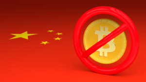 Prohibitive sign with a bitcoin inside on a Chinese flag 3D illustration