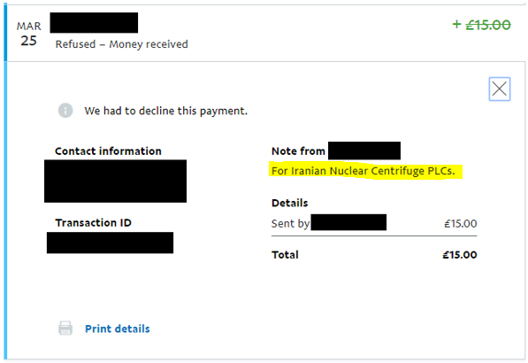 Screenshot of Boaz Shoshan's paypal account